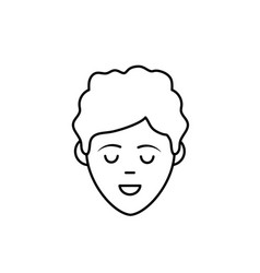 Line avatar man face with haistyle design vector