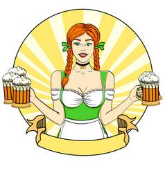 Logo pop art germany girl waitress carries five vector