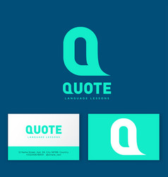 logo quote language lessons vector image