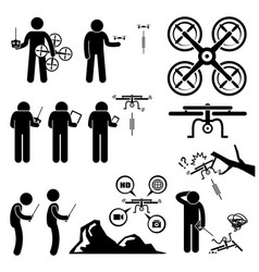 man controlling flying drone quadcopter stick vector image