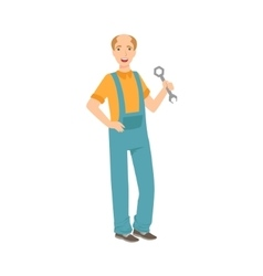 Man Plumber With A Wrench Part Of Happy People vector image