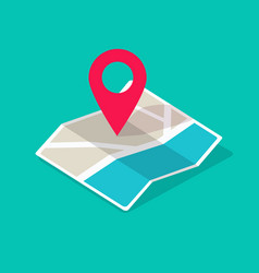 map icon isometric with destination location pin vector image