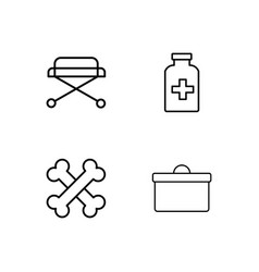 medical simple outlined icons set vector image
