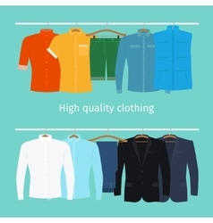 Mens clothes on hangers vector image