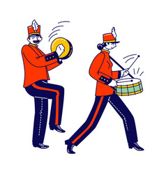 Military orchestra characters wear festive red vector