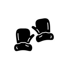 mittens black icon sign on isolated vector image