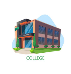 Modern college building education architecture vector