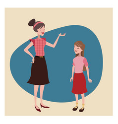 Mother and daugther lovely vintage background vector