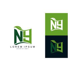 Ny monogram leaf logo natural organic premium vector