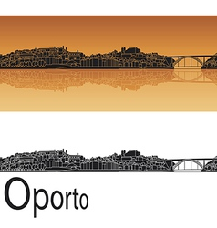 Oporto skyline in orange background vector image