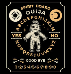 ouija board with a voodoo doll occultism set vector image