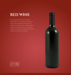 Photorealistic bottle of red wine on a red vector