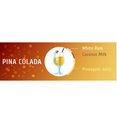 pina colada cocktail ingredients flat stile vector image