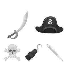 pirate bandit cap hook pirates set collection vector image