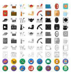 Pub interior and equipment cartoon icons in set vector