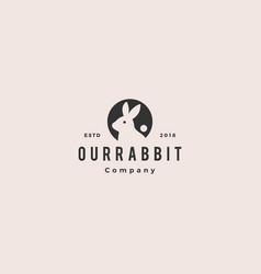 rabbit circle round negative style logo vintage vector image