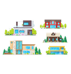 real estate houses villas and bungalow buildings vector image