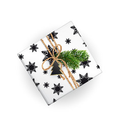 realistic xmas gift box top view black and white vector image