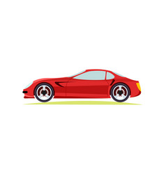 Red modern fast sports car on white background vector
