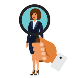 search for businesswoman concept cartoon flat vector image