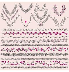 set hand drawn floral graphic design elements vector image