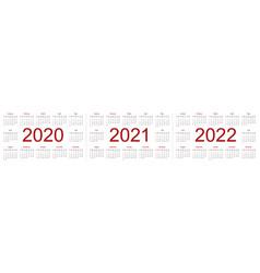 set minimalist calendars years 2020 2021 2022 vector image