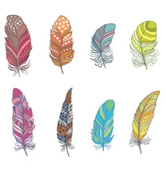 Set of Ornamental Boho Style Feather Hippie Design vector image