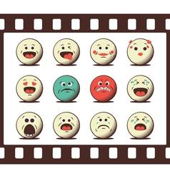 Set of retro emoji emoticons vector image vector image