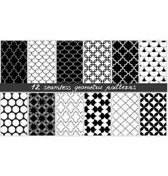 set of seamless geometric patterns islamic black vector image