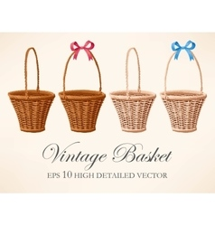Set of vintage baskets vector