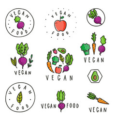 set vegan food badges vector image