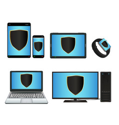 smart device and computer with protection shield vector image
