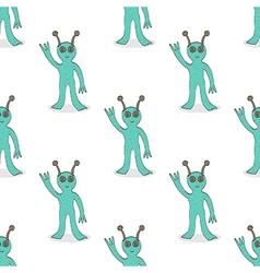 Smiling alien seamless pattern vector image