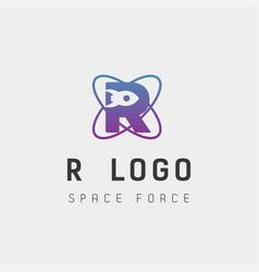 Space force logo design r initial galaxy rocket vector