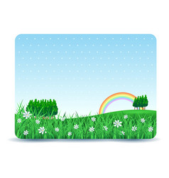 spring signboard with copy space and meadow vector image