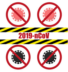 stop coronavirus banner prohibition sign vector image
