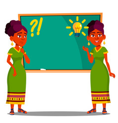 student standing at blackboard with light bulb vector image