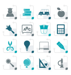stylized education and school icons vector image