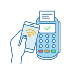 Successful nfc smartphone payment color icon vector