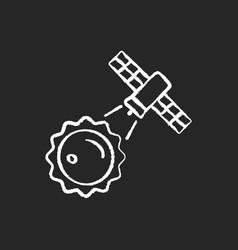 Sun observation process chalk white icon on dark vector