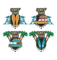 Surf time cartoon set vector