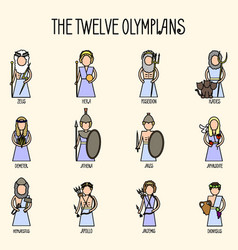 the twelve olympians icons set vector image