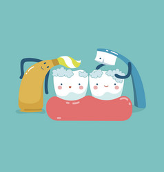 Toothpaste and toothbrush are cleaning teeth teet vector