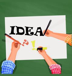 top view hands on desktop look for idea vector image