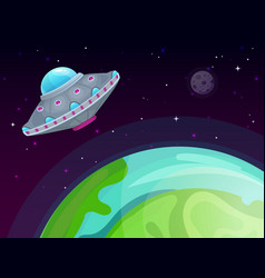 ufo concept spaceship travel sci-fi in vector image