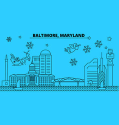 United states baltimore winter holidays skyline vector