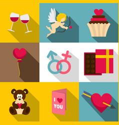Valentine day symbols icon set flat style vector