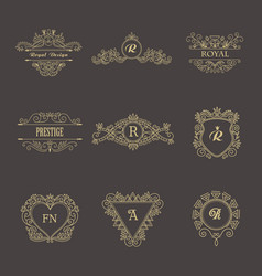 vintage floral frames for your logo invitation vector image