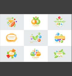 vitamins logo set of colorful vector image