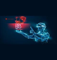 vr headset man with man genitals organ vector image
